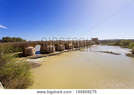 Roman Bridge And Guadalquivir River, Great Mosque, Cordoba, Andalusia,
