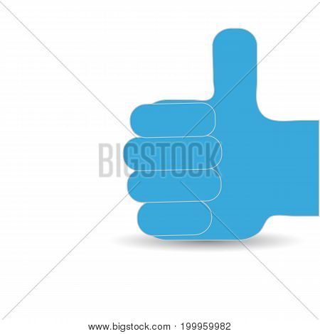 Hand with a raised thumb white background