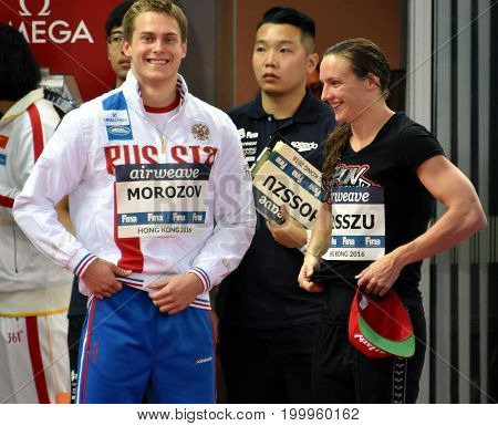 Hong Kong China - Oct 30 2016. Overall winners MOROZOV Vladimir (RUS) and Katinka HOSSZU (HUN) of the FINA Swimming World Cup in 2016.
