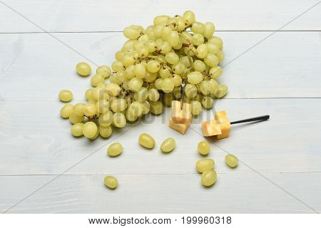 Delicious Appetizer With Cheese And Grapes, Top View