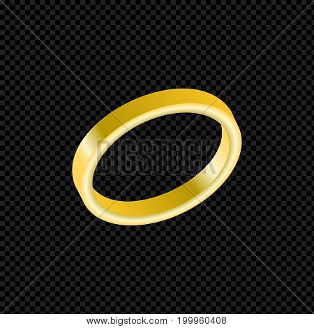 Vector gold ring isolated on transparent background. Wedding yellow metal ring metal. 3D vector illustration.