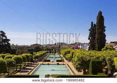 The Famous Alcazar De Los Reyes Cristianos With Beautiful Garden In Cordoba