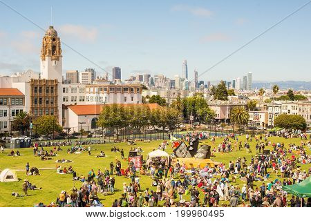 SAN FRANCISCO CA - JULY 04 2017: Mission Dolores Park panorama in San Francisco. SF is the most densely settled large city in California and the second-most in US.