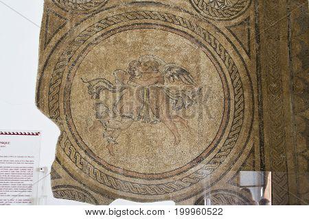 The Ancient Roman Mosaic In Alcazar De Los Reyes Cristianos Castle In Cordoba