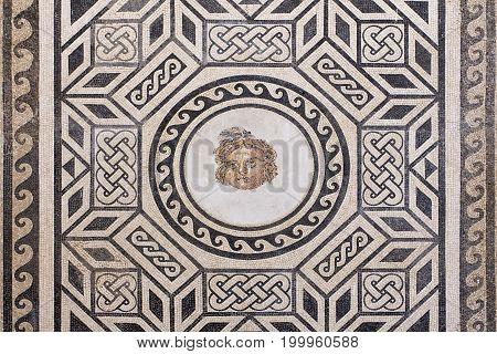The ancient roman mosaic in Alcazar de los Reyes Cristianos castle in Cordoba Andalusia