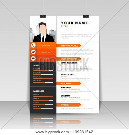 Personal Resume. Modern template in orange style. Vector illustration