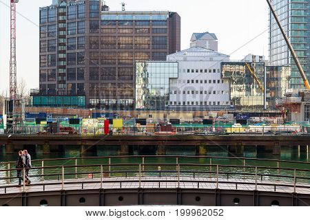 New Development Construction Site On Bank Street At South Dock In Canary Wharf