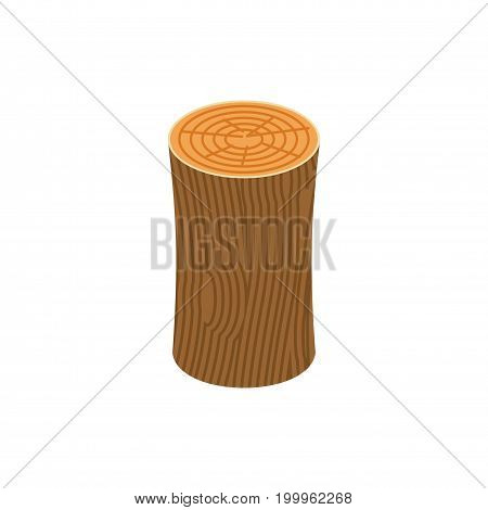 Log Isolated. Wooden Billet On White Background