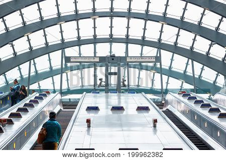 Entrance Of Canary Wharf Underground Station With Geometric Glass Ceiling