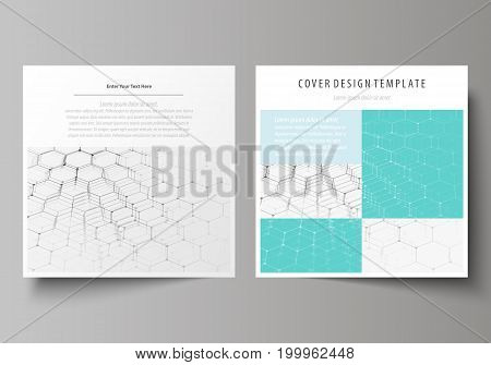 Business templates for square design brochure, magazine, flyer, booklet or annual report. Leaflet cover, abstract flat layout, easy editable vector. Chemistry pattern, hexagonal molecule structure on blue. Medicine, science and technology concept.