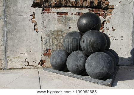 Old Cannon balls at Fort Zachary Taylor National Historic State Park, Key West, Florida, USA