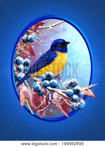 Christmas greeting card. Winter background. A small bird of the tit sits on a snow-covered branch blue berries red leaves.