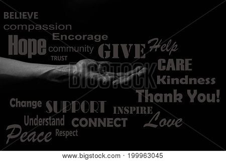 Hand of a man palm up reaching. giving a helping hand concept illustration, word cloud