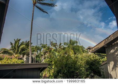 A view of a double rainbow on Maui Hawaii.