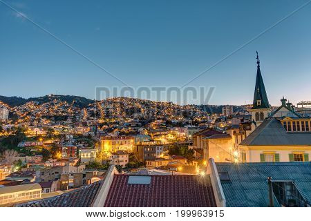 View over one of the hills of Valparaiso in Chile at night