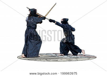 Japanese Kendo Fighters With Bamboo Swords, White Background