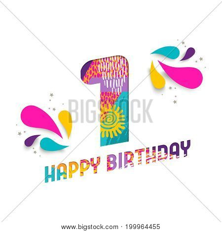 Happy Birthday 1 One Year Paper Cut Greeting Card