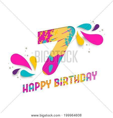 Happy Birthday 7 Year Paper Cut Greeting Card