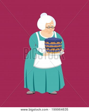 Grandmother With Pie. Grandma And Blueberry Cake. Elderly Woman