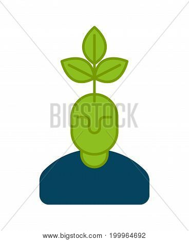 Young Business Manager Icon. Plant Grows From Head. Head And Tree.