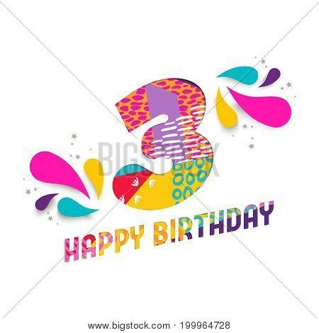 Happy Birthday 3 Year Paper Cut Greeting Card