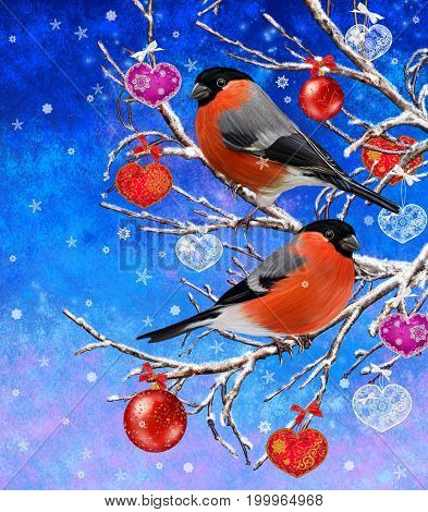 Christmas winter background. Bright bird bullfinch sitting on a branch. Decor in the form of openwork lace hearts red shiny balls.