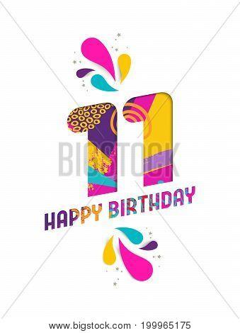 Happy Birthday 11 Year Paper Cut Greeting Card