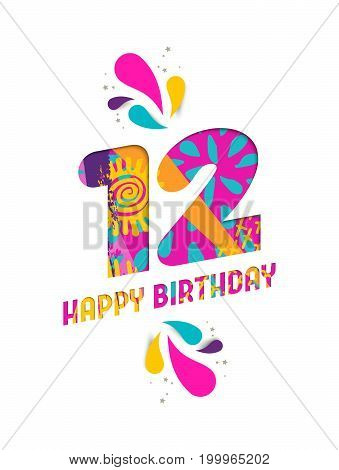 Happy Birthday 12 Year Paper Cut Greeting Card