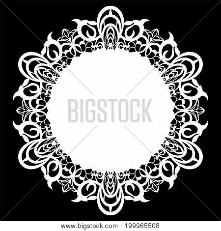 Lace round paper doily lacy snowflake greeting element laser cut template doily to decorate the cake vector illustrations.