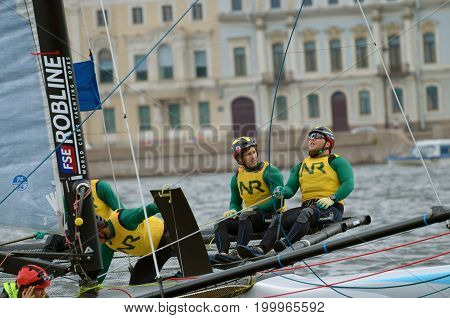 05.08.2017.Russia.Saint-Petersburg.Athletes compete in the speed of passing the route on the yacht.