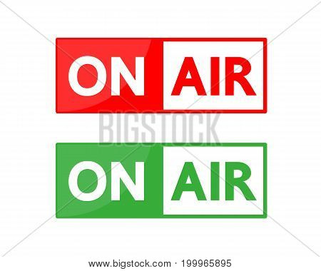On air green and red button vector design .