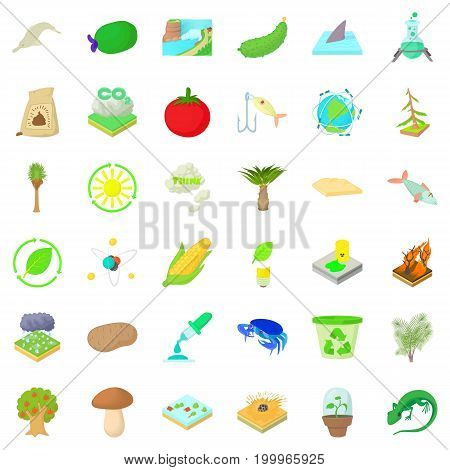 Biology science icons set. Cartoon style of 36 biology science vector icons for web isolated on white background