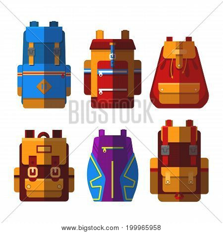 Isolated bag or rucksack, satchel or handbag, knapsack or backpack. Travel baggage or travel luggage, student leather equipment with zipper, voyage carry. Journey and fashion, expedition theme