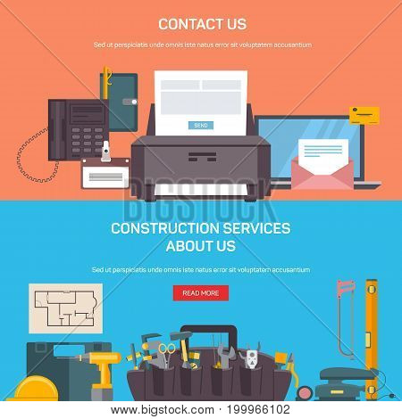 Office and construction service web screens with buttons. Building or repair tools in toolbox, saw and drill and office accessories like printer and notebook, phone and pen.Advertising, workspace theme