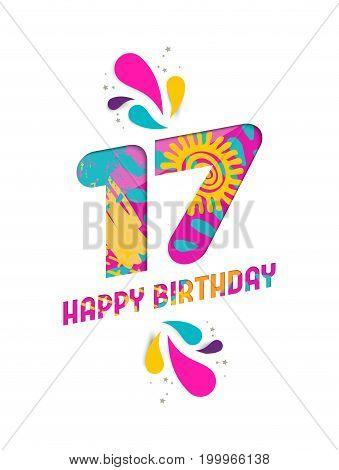 Happy Birthday 17 Year Paper Cut Greeting Card