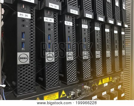 16 August 2017 Pathum Thani Thailand : The DEKK blade server in data rack Efficient and fast working in large enterprise datacenter.
