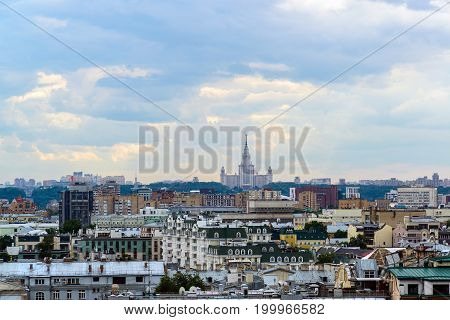 Moscow, Russia - July 25.2017. City landscape of the center and Moscow State University