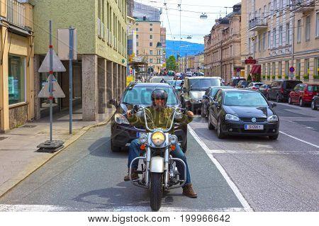 Salzburg, Austria - May 01, 2017: The male Biker on the street in Salzburg, Austria on May 01 2017