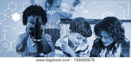 Digital image of chemical formulas against kids doing experiment in laboratory