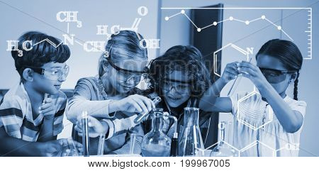 Digital image of chemical formulas against kids doing a chemical experiment in laboratory