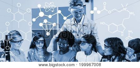 Digitally generated image of chemical structure against teacher assisting kids in laboratory