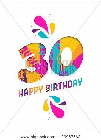 Happy Birthday 30 Year Paper Cut Greeting Card