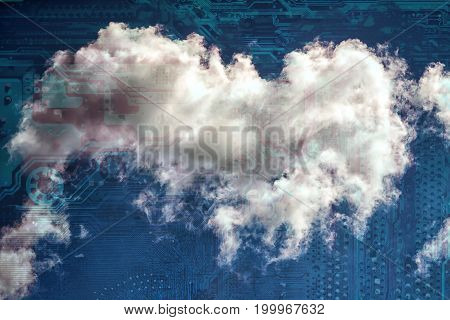 cloud computing concept - cloud and schematic motherboard layer as a nature integrated circuit