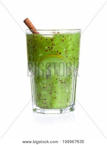 A fresh homemade kiwi smoothie with cinnamon stick full of nutritious vitamins, isolated on a white background. Natural and healthy cocktail for vegan breakfast.