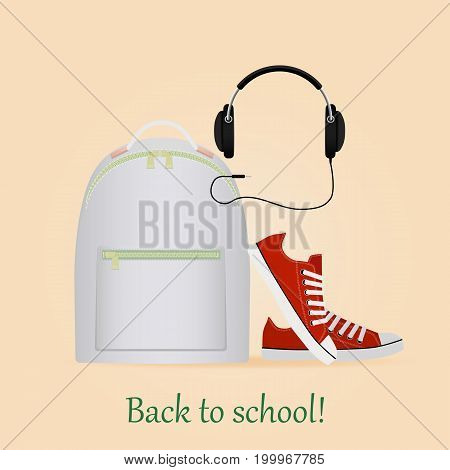 Image with backpack, sneakers and headphone. Back to school.