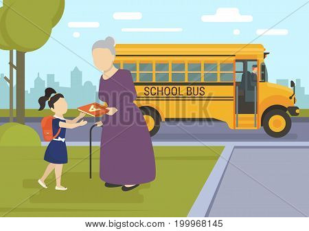 Young girl going to school first day. Flat vector illustration of grandmother giving an alphabet to her granddaughter as a custodian and school bus behind them
