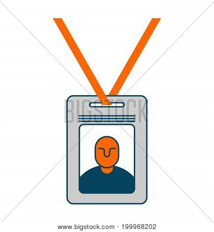 Badge Isolated. Pass An Employee On White Background. Office Accessory