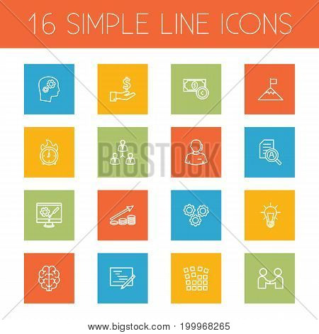 Collection Of Success, Teamwork, Research And Other Elements.  Set Of 16 Business Outline Icons Set.