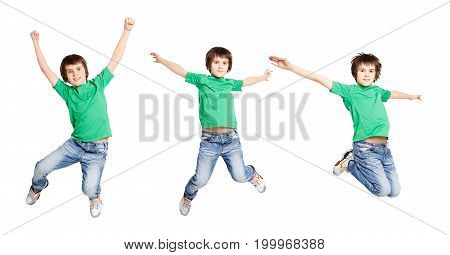 Happy boy jumping on white isolated background. Active child having fun. Three poses of a bounce in one shot, copy space