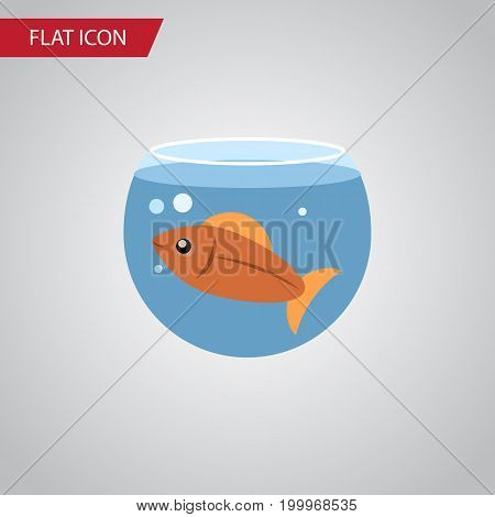 Fishbowl Vector Element Can Be Used For Fish, Fishbowl, Aquatic Design Concept.  Isolated Fish Flat Icon.